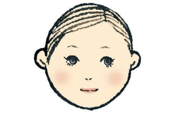キュートで、柔らかさのある丸顔さん。かわいさはもともと備わっているけれど、子供っぽくなりやすい顔型。小顔を狙うにはチークでシェーディングするのがカギ