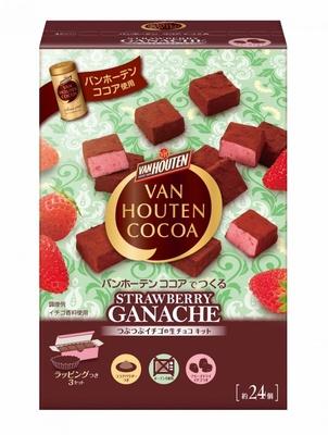 フリーズドライのイチゴを混ぜ込んだ「バンホーテン ココアでつくる つぶつぶイチゴの生チョコキット」(税抜800円)