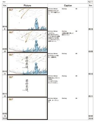 監督の新海誠による初期イメージボード本作の絵コンテ