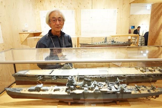 野村直人氏が作った艦船模型。一隻の制作時間は約1年だという