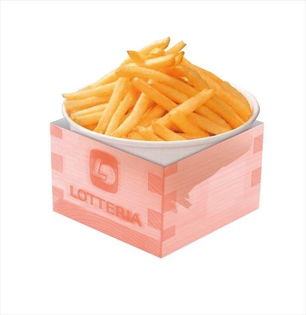 【画像を見る】節分仕様の豆まきの枡をイメージしたボックスに入った「節分バケツポテト」(600円)