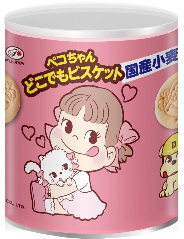 5年間の長期保存が可能で非常食として利用できる「ペコちゃんどこでもビスケット保存缶」(参考小売価格497円)は2月14日(火)から発売