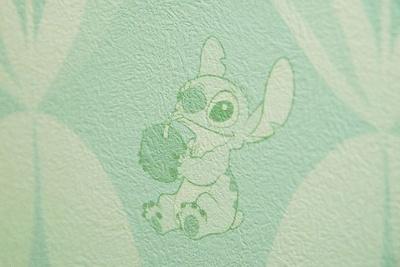 水色のスティッチ柄壁紙