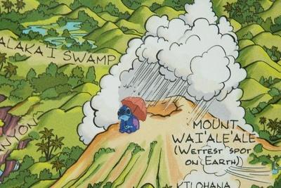 カウアイ島の地図の真ん中にはかわいいスティッチのイラストが!