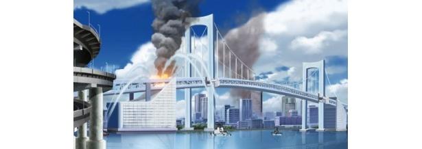 炎上するレインボーブリッジ